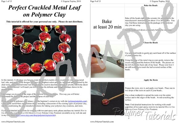 Image for Example Pages from Perfect Crackled Metal Leaf on Polymer Clay Tutorial