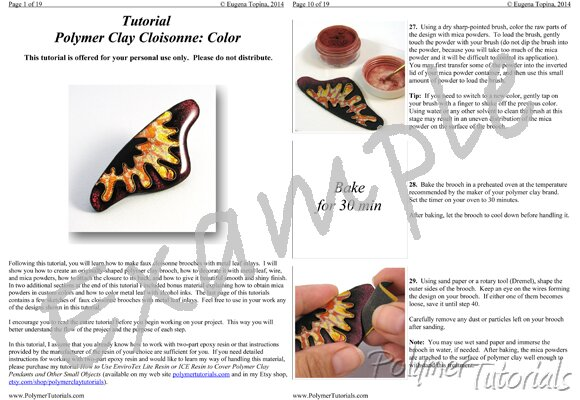 Image for Example Pages from Polymer Clay Tutorial Faux Cloisonne Brooch