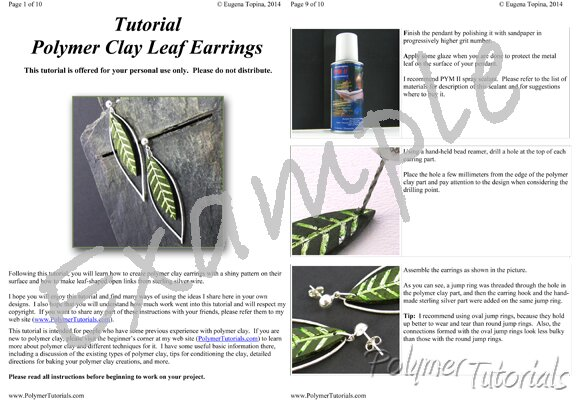 Image for Example Pages from tutorial Polymer Clay Leaf Earrings