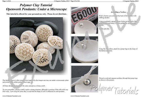 Image for Example Pages from Tutorial Polymer Clay Openwork Pendants