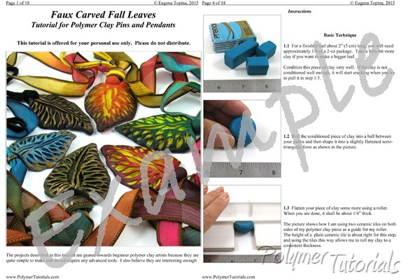 Image for Example Pages from polymer clay tutorial Faux Carved Fall Leaves