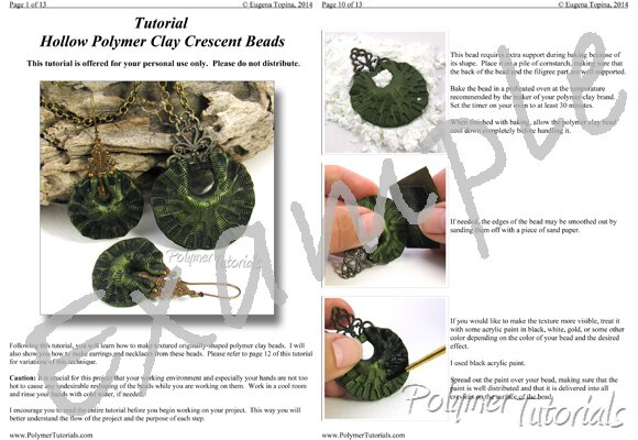 Image for Example Pages from Polymer Clay Tutorial Hollow Crescent Beads