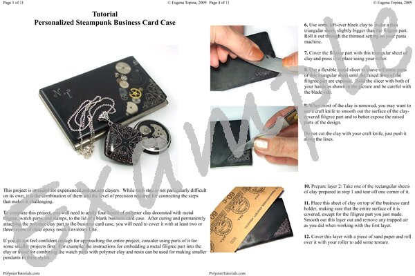 Image for Example Pages from Steampunk Business Card Case Polymer Clay Tutorial