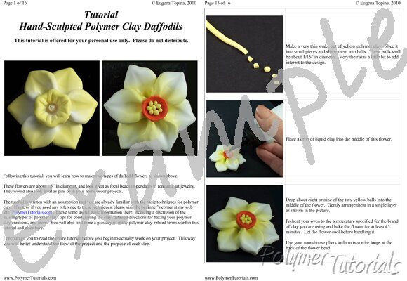 Image for Example Pages from Sculpted Daffodils Polymer Clay Tutorial