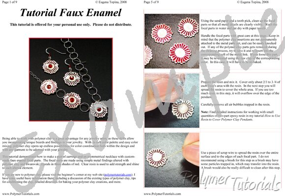 Image for Example Pages from Easy Faux Enamel Polymer Clay Tutorial