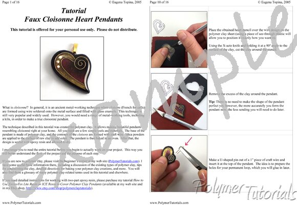 Image for Example Pages from Faux Cloisonne Heart Pendant Polymer Clay Tutorial