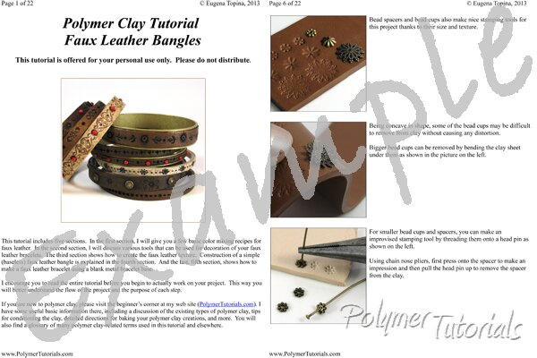 Image for Example Pages from Faux Tooled Leather Bracelets Polymer Clay Tutorial