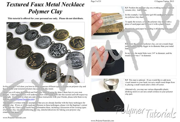 Image for Example Pages from Faux Metal Necklace Polymer Clay Tutorial
