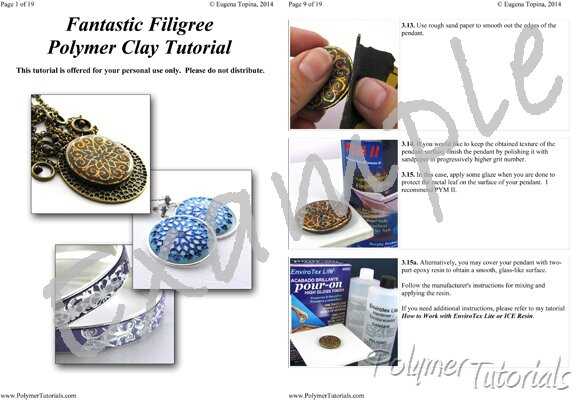 Image for Example Pages from Fantastic Filigree Polymer Clay Pendant, Earrings, Bracelet Tutorial