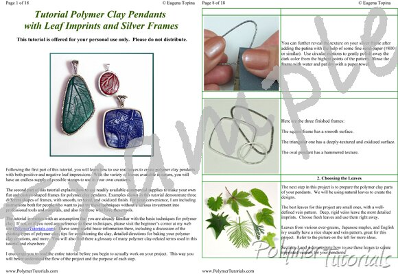 Image for Example Pages from Silver Framed Polymer Clay Pendants Tutorial