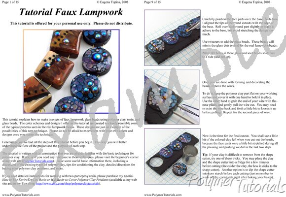 Image for Example Pages from Faux Lampwork with Abstract Design Polymer Clay Tutorial