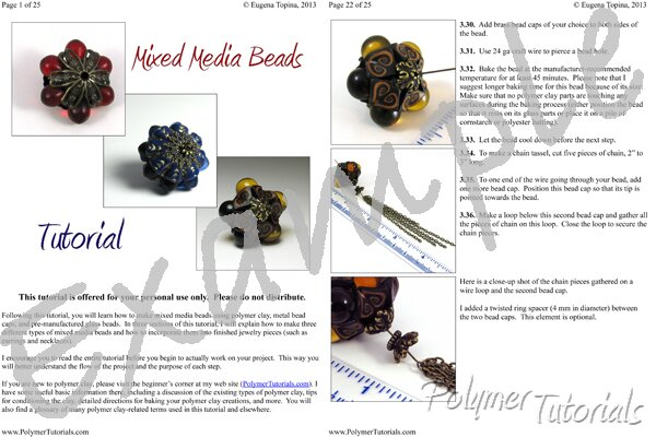 Image for Example Pages from Mixed Media Beads Polymer Clay Tutorial