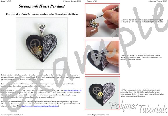 Image for Example Pages from Steampunk Heart Pendant Polymer Clay and Resin Tutorial