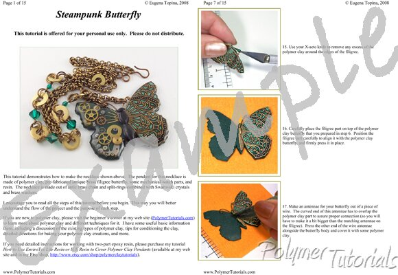 Image for Example Pages from Steampunk Butterfly Necklace Polymer Clay and Resin Tutorial