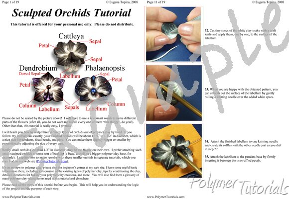 Image for Example Pages from Sculpted Polymer Clay Orchid Beads Tutorial