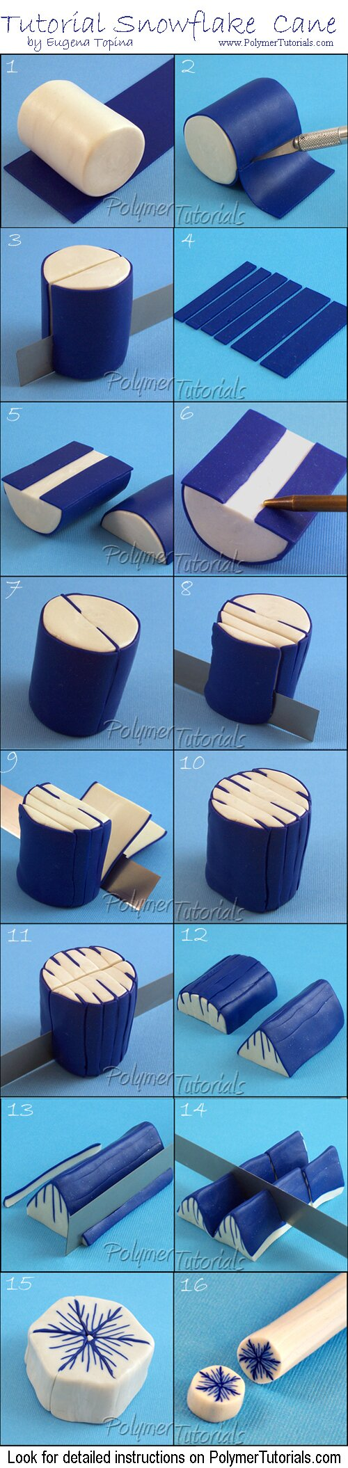 Image for Free Polymer Clay Tutorial Snowflake Cane