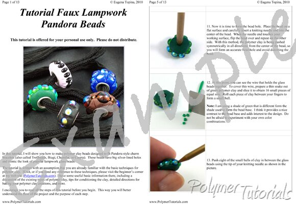 Image for Example Pages from Pandora Beads Polymer Clay Tutorial