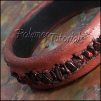 Image for a polymer clay bracelet with gemstone inlays tutorial