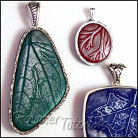 Image for a tutorial for polymer clay pendants with sterling silver bezels