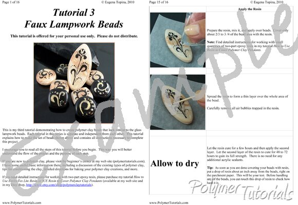 Image for Example Pages from Faux Lampwork with Swirls and Flowers Polymer Clay Tutorial